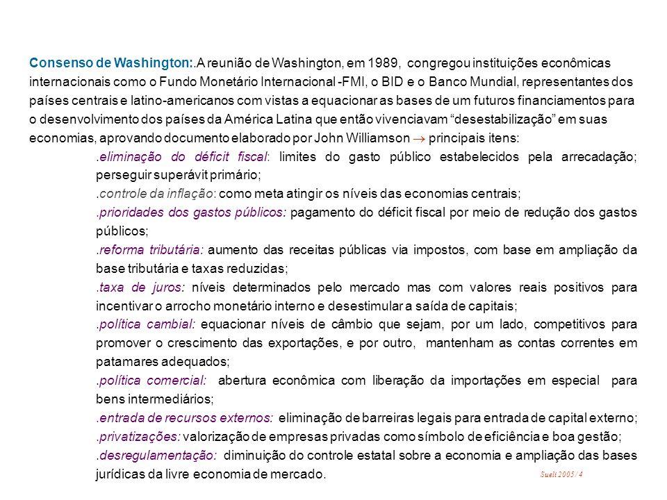 Consenso de Washington:.A reunião de Washington, em 1989, congregou instituições econômicas internacionais como o Fundo Monetário Internacional -FMI, o BID e o Banco Mundial, representantes dos países centrais e latino-americanos com vistas a equacionar as bases de um futuros financiamentos para o desenvolvimento dos países da América Latina que então vivenciavam desestabilização em suas economias, aprovando documento elaborado por John Williamson principais itens:.eliminação do déficit fiscal: limites do gasto público estabelecidos pela arrecadação; perseguir superávit primário;.controle da inflação: como meta atingir os níveis das economias centrais;.prioridades dos gastos públicos: pagamento do déficit fiscal por meio de redução dos gastos públicos;.reforma tributária: aumento das receitas públicas via impostos, com base em ampliação da base tributária e taxas reduzidas;.taxa de juros: níveis determinados pelo mercado mas com valores reais positivos para incentivar o arrocho monetário interno e desestimular a saída de capitais;.política cambial: equacionar níveis de câmbio que sejam, por um lado, competitivos para promover o crescimento das exportações, e por outro, mantenham as contas correntes em patamares adequados;.política comercial: abertura econômica com liberação da importações em especial para bens intermediários;.entrada de recursos externos: eliminação de barreiras legais para entrada de capital externo;.privatizações: valorização de empresas privadas como símbolo de eficiência e boa gestão;.desregulamentação: diminuição do controle estatal sobre a economia e ampliação das bases jurídicas da livre economia de mercado.
