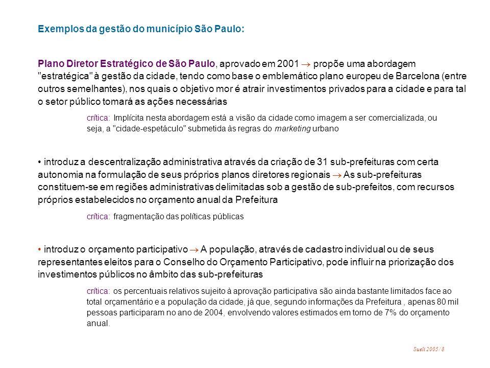 o instrumento urbanístico operações urbanas em consórcio foi regulamentado pelo Estatuto da Cidade em 2001 após ter sido amplamente utilizado no município de São Paulo nos anos 1990.
