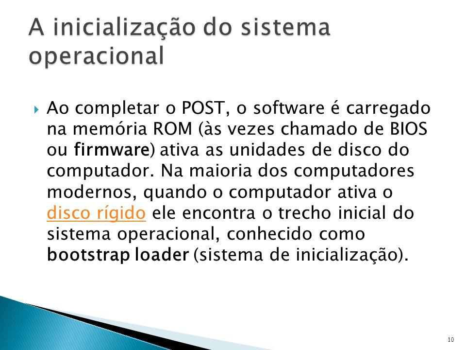 Ao completar o POST, o software é carregado na memória ROM (às vezes chamado de BIOS ou firmware) ativa as unidades de disco do computador. Na maioria