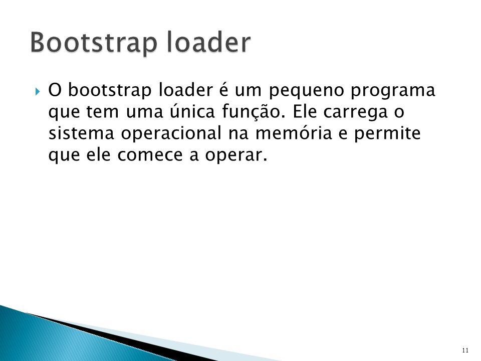 O bootstrap loader é um pequeno programa que tem uma única função. Ele carrega o sistema operacional na memória e permite que ele comece a operar. 11