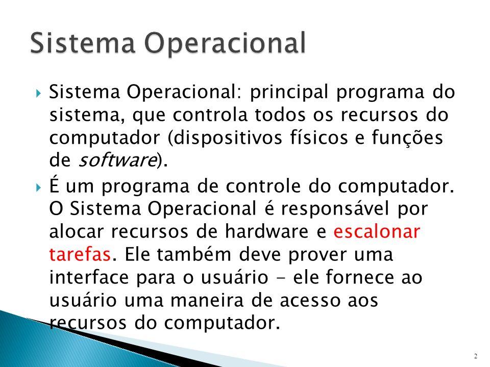 Sistema Operacional: principal programa do sistema, que controla todos os recursos do computador (dispositivos físicos e funções de software). É um pr