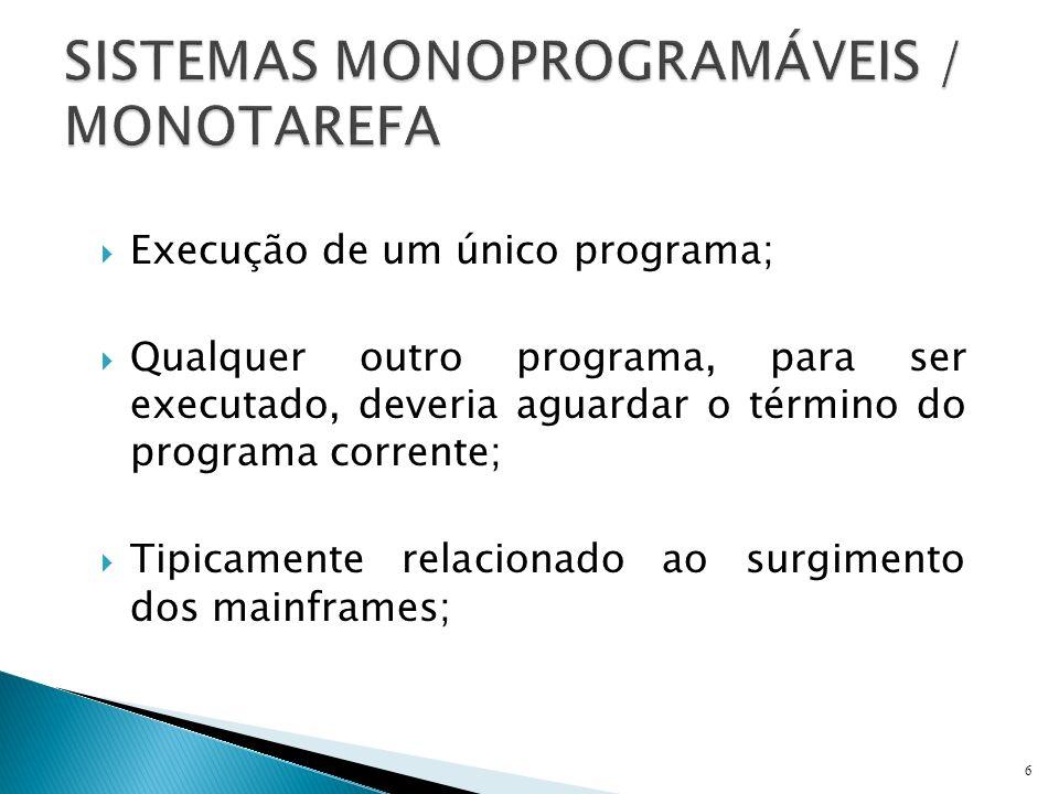 Execução de um único programa; Qualquer outro programa, para ser executado, deveria aguardar o término do programa corrente; Tipicamente relacionado a