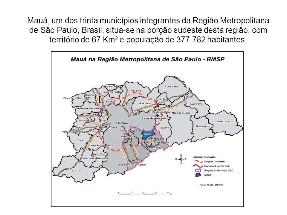 Mauá, um dos trinta municípios integrantes da Região Metropolitana de São Paulo, Brasil, situa-se na porção sudeste desta região, com território de 67
