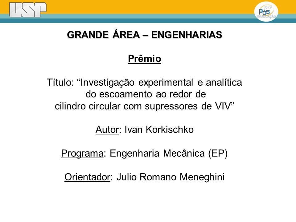 GRANDE ÁREA – ENGENHARIAS Prêmio Título: Investigação experimental e analítica do escoamento ao redor de cilindro circular com supressores de VIV Auto