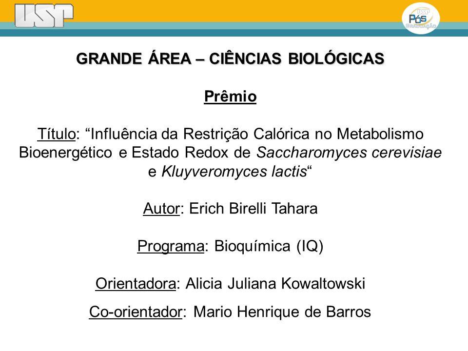 GRANDE ÁREA – CIÊNCIAS BIOLÓGICAS Prêmio Título: Influência da Restrição Calórica no Metabolismo Bioenergético e Estado Redox de Saccharomyces cerevis