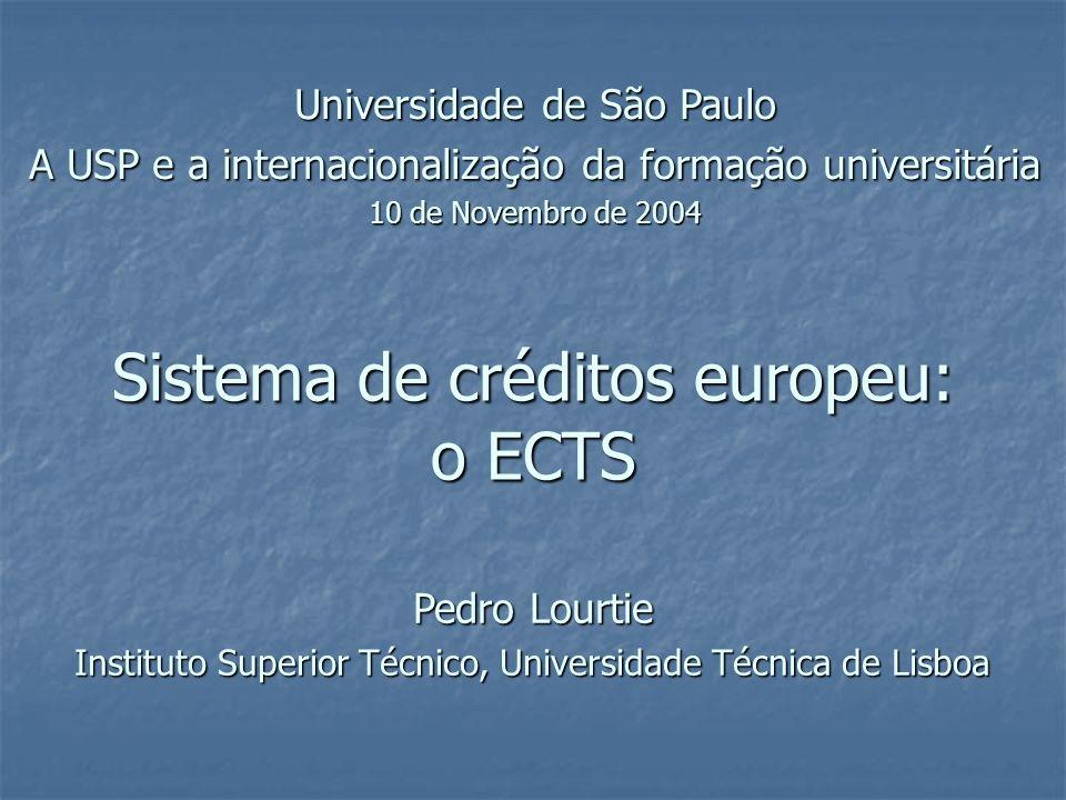 Sistema de créditos europeu: o ECTSPedro Lourtie Gestão da carga de trabalho (curso pré-definido) Semestre Carga de trabalho (horas) Créditos Disciplina Estimativa do docente Inquérito aos alunos DocentesAlunos A1742006,14,5 B1563005,56,8 C2282508,05,6 D1743006,16,8 E1242804,36,3 TOTAL85613303030