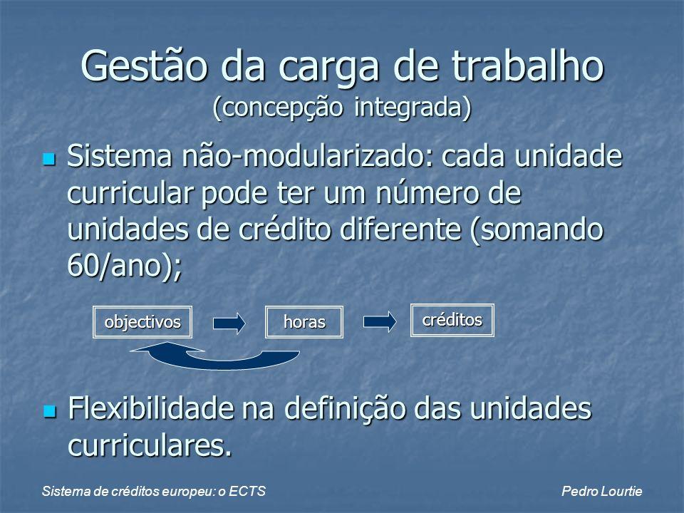 Sistema de créditos europeu: o ECTSPedro Lourtie Gestão da carga de trabalho (concepção integrada) Sistema não-modularizado: cada unidade curricular p