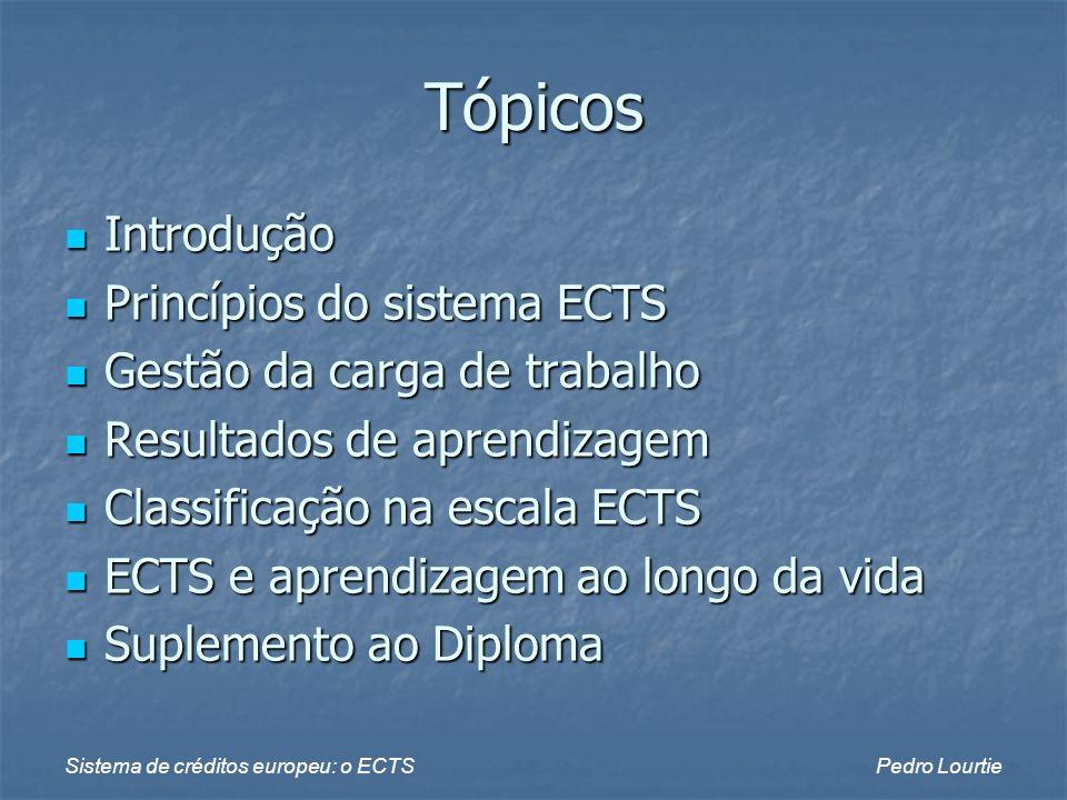 Sistema de créditos europeu: o ECTSPedro Lourtie Tópicos Introdução Introdução Princípios do sistema ECTS Princípios do sistema ECTS Gestão da carga d
