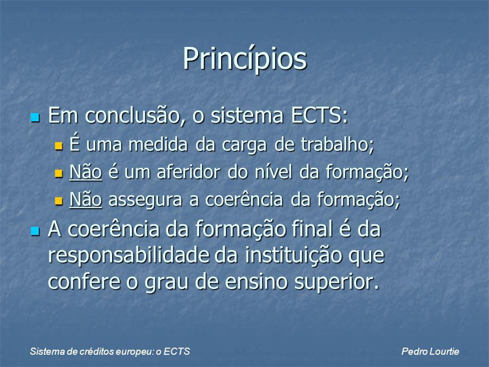 Sistema de créditos europeu: o ECTSPedro Lourtie ECTS e aprendizagem ao longo da vida A definição de objectivos de aprendizagem favorece a validação de adquiridos não formais ou informais; A definição de objectivos de aprendizagem favorece a validação de adquiridos não formais ou informais; Créditos: comparação entre os conheci- mentos, competências e capacidades indi- viduais e os objectivos de aprendizagem; Créditos: comparação entre os conheci- mentos, competências e capacidades indi- viduais e os objectivos de aprendizagem; Papel/atitude das instituições: Papel/atitude das instituições: Apoio na explicitação dos adquiridos; Apoio na explicitação dos adquiridos; Flexibilidade na apreciação e creditação.