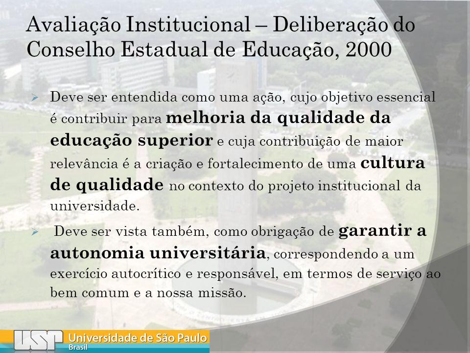 Avaliação Institucional – Deliberação do Conselho Estadual de Educação, 2000 Deve ser entendida como uma ação, cujo objetivo essencial é contribuir para melhoria da qualidade da educação superior e cuja contribuição de maior relevância é a criação e fortalecimento de uma cultura de qualidade no contexto do projeto institucional da universidade.