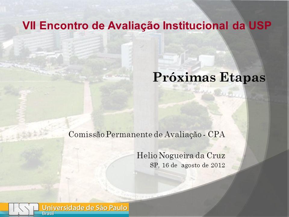 Comissão Permanente de Avaliação - CPA Helio Nogueira da Cruz SP, 16 de agosto de 2012 VII Encontro de Avaliação Institucional da USP