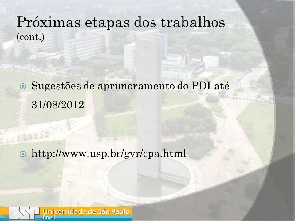 Próximas etapas dos trabalhos (cont.) Sugestões de aprimoramento do PDI até 31/08/2012 http://www.usp.br/gvr/cpa.html