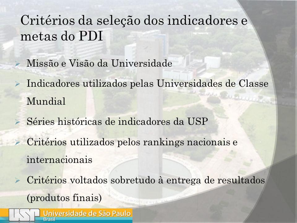 Critérios da seleção dos indicadores e metas do PDI Missão e Visão da Universidade Indicadores utilizados pelas Universidades de Classe Mundial Séries históricas de indicadores da USP Critérios utilizados pelos rankings nacionais e internacionais Critérios voltados sobretudo à entrega de resultados (produtos finais)