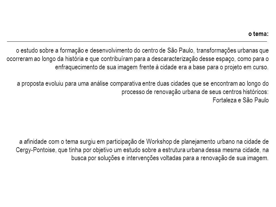 o tema: o estudo sobre a formação e desenvolvimento do centro de São Paulo, transformações urbanas que ocorreram ao longo da história e que contribuír