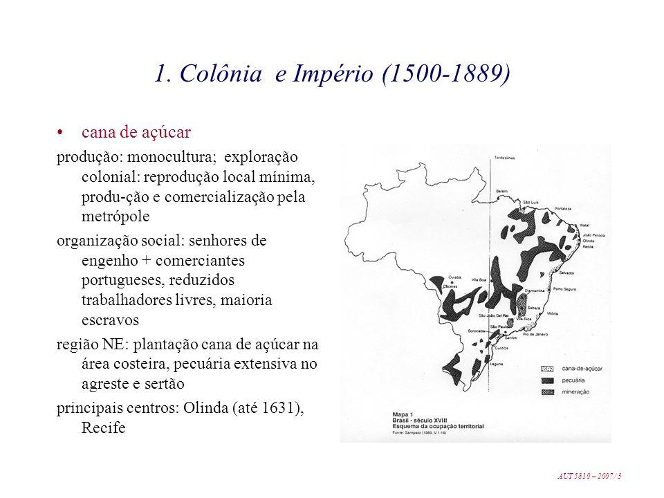1. Colônia e Império (1500-1889) cana de açúcar produção: monocultura; exploração colonial: reprodução local mínima, produ-ção e comercialização pela