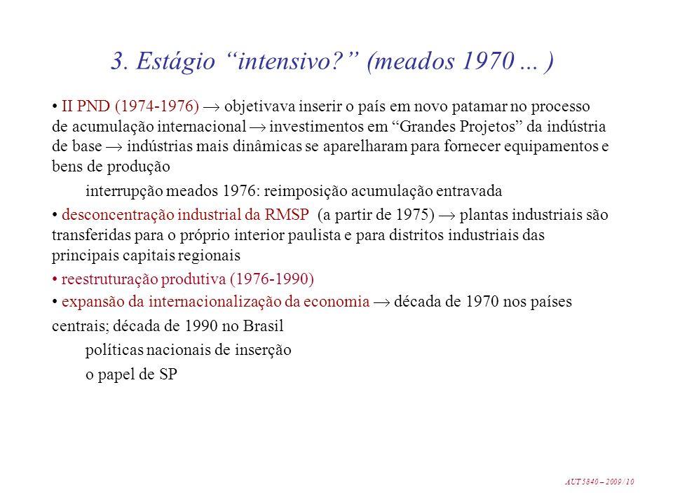 II PND (1974-1976) objetivava inserir o país em novo patamar no processo de acumulação internacional investimentos em Grandes Projetos da indústria de
