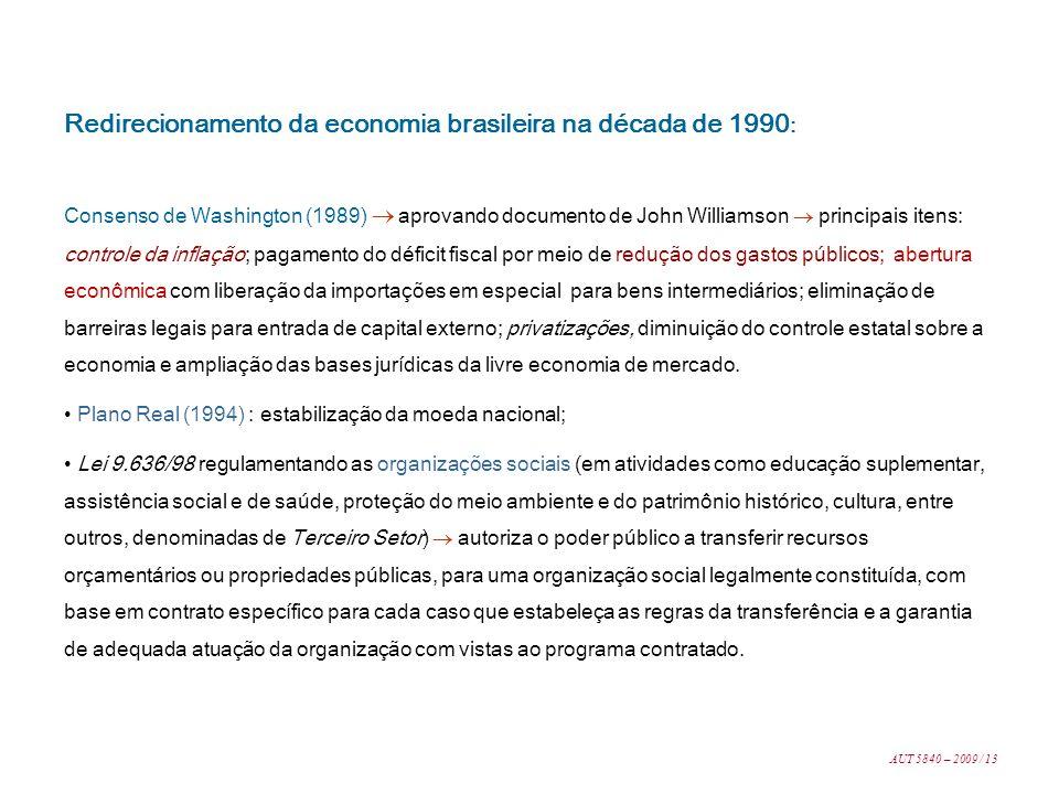 Redirecionamento da economia brasileira na década de 1990 : Consenso de Washington (1989) aprovando documento de John Williamson principais itens: con