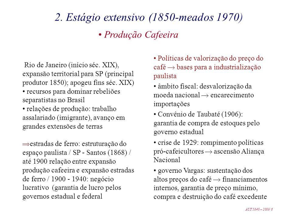 Rio de Janeiro (início séc. XIX), expansão territorial para SP (principal produtor 1850); apogeu fins séc. XIX) recursos para dominar rebeliões separa