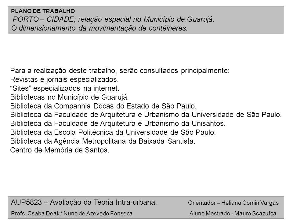 AUP5823 – Avaliação da Teoria Intra-urbana. Orientador – Heliana Comin Vargas Profs. Csaba Deak / Nuno de Azevedo Fonseca Aluno Mestrado - Mauro Scazu