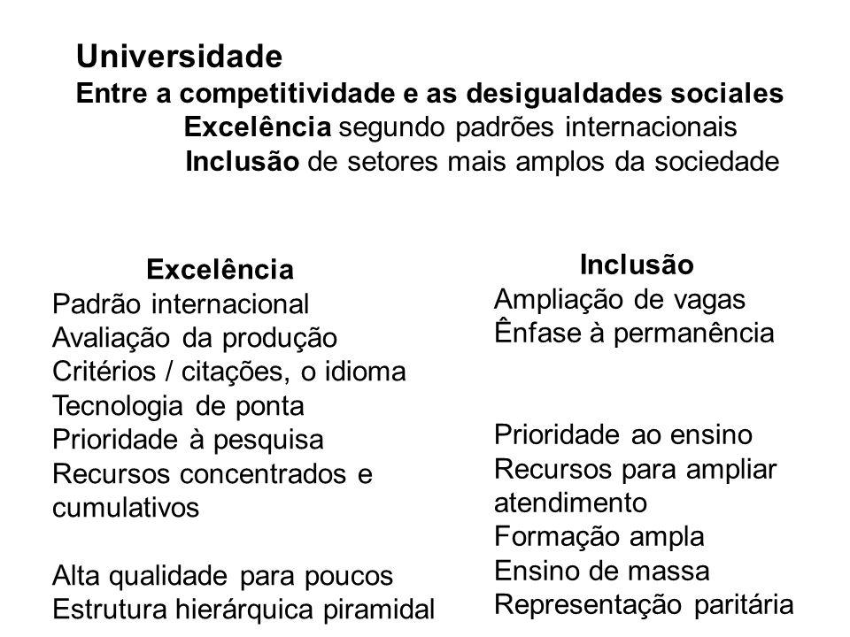 Universidade no Brasil 30% pública e gratuita – acesso por exame vestibular 70% privada 19 % dos jovens de 17 a 24 anos cursam universidade Ministério da Educação – avaliação dos cursos de graduação CAPES – avaliação dos cursos de pós-graduação CNPQ – apoio à pesquisa – Ministério da Ciência e Tecnologia Conselhos Profissionais – regulamentam a profissão Fonte: UNESCO, Conferencia Regional de Educação Superior – Cartagena, 2008