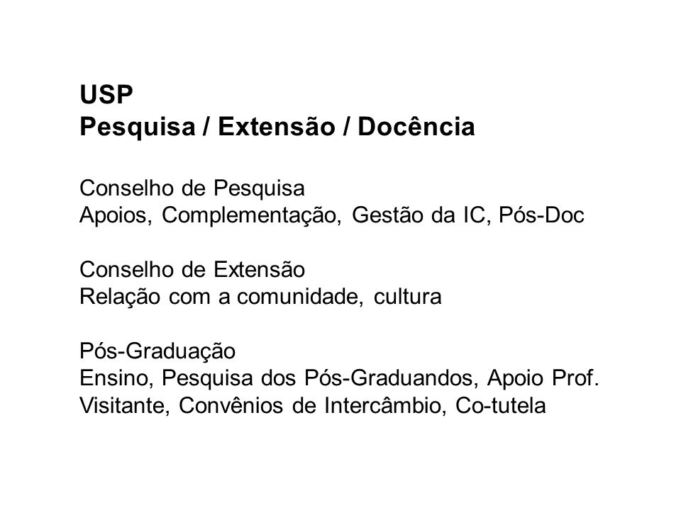 USP Pesquisa / Extensão / Docência Conselho de Pesquisa Apoios, Complementação, Gestão da IC, Pós-Doc Conselho de Extensão Relação com a comunidade, c