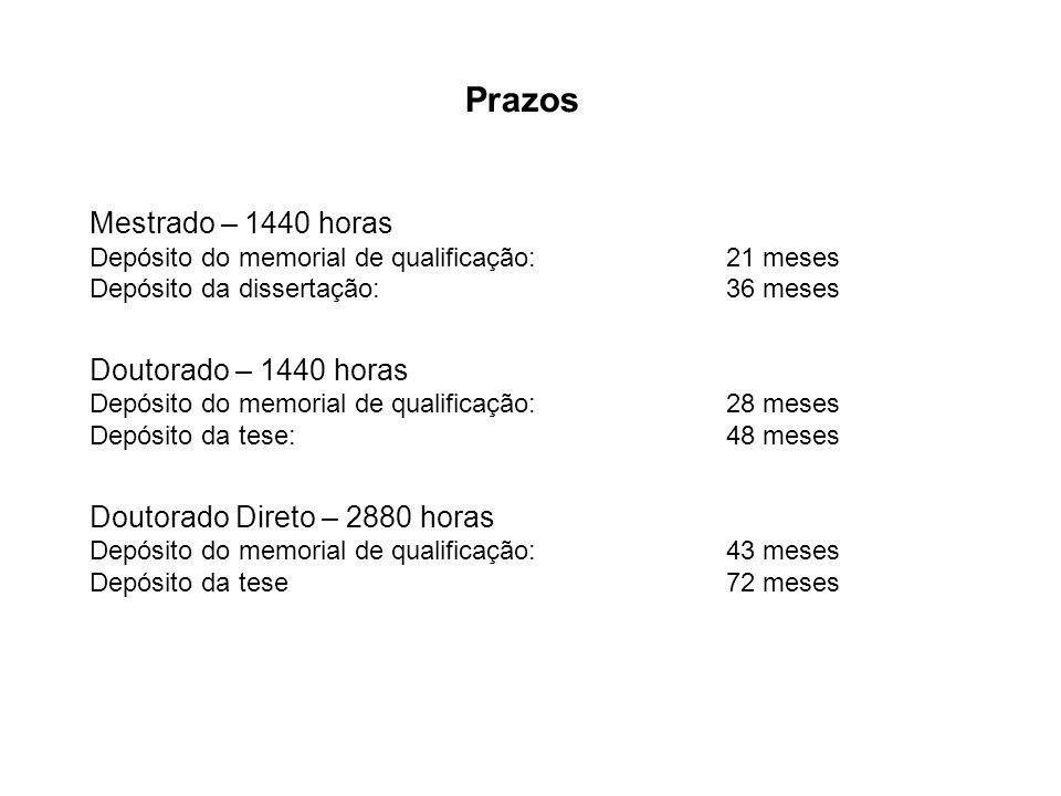 Prazos Mestrado – 1440 horas Depósito do memorial de qualificação: 21 meses Depósito da dissertação: 36 meses Doutorado – 1440 horas Depósito do memor