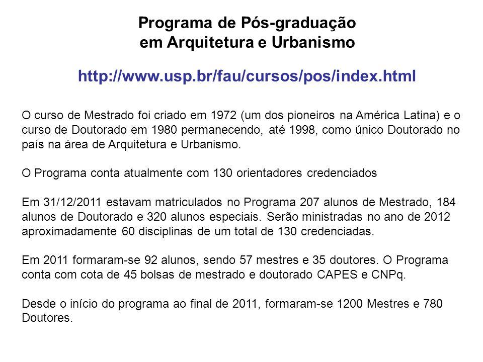 Programa de Pós-graduação em Arquitetura e Urbanismo http://www.usp.br/fau/cursos/pos/index.html O curso de Mestrado foi criado em 1972 (um dos pionei