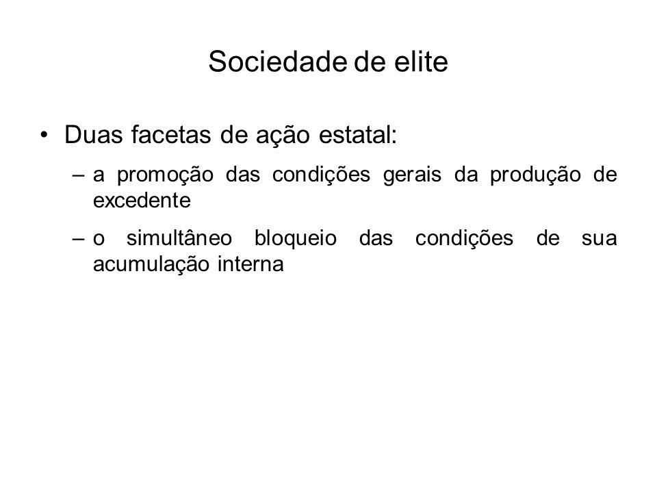 Sociedade de elite Duas facetas de ação estatal: –a promoção das condições gerais da produção de excedente –o simultâneo bloqueio das condições de sua
