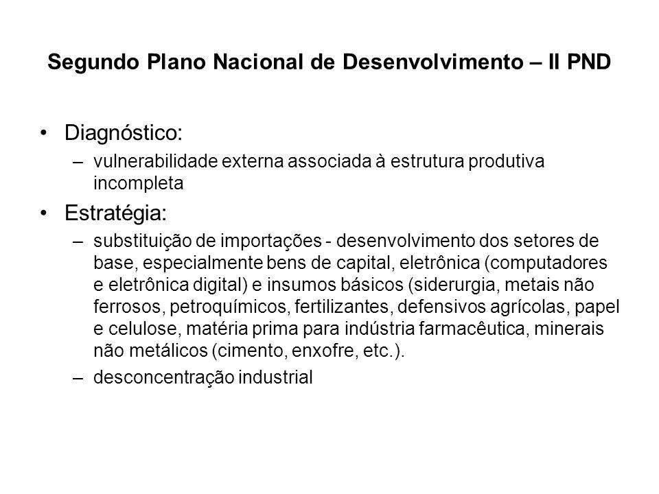 Segundo Plano Nacional de Desenvolvimento – II PND Diagnóstico: –vulnerabilidade externa associada à estrutura produtiva incompleta Estratégia: –subst