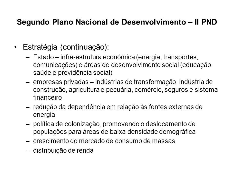 Segundo Plano Nacional de Desenvolvimento – II PND Estratégia (continuação): –Estado – infra-estrutura econômica (energia, transportes, comunicações)