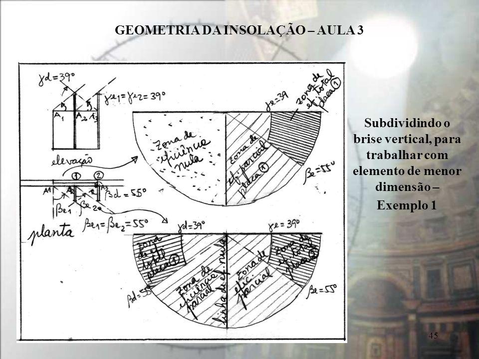 GEOMETRIA DA INSOLAÇÃO – AULA 3 45 Subdividindo o brise vertical, para trabalhar com elemento de menor dimensão – Exemplo 1