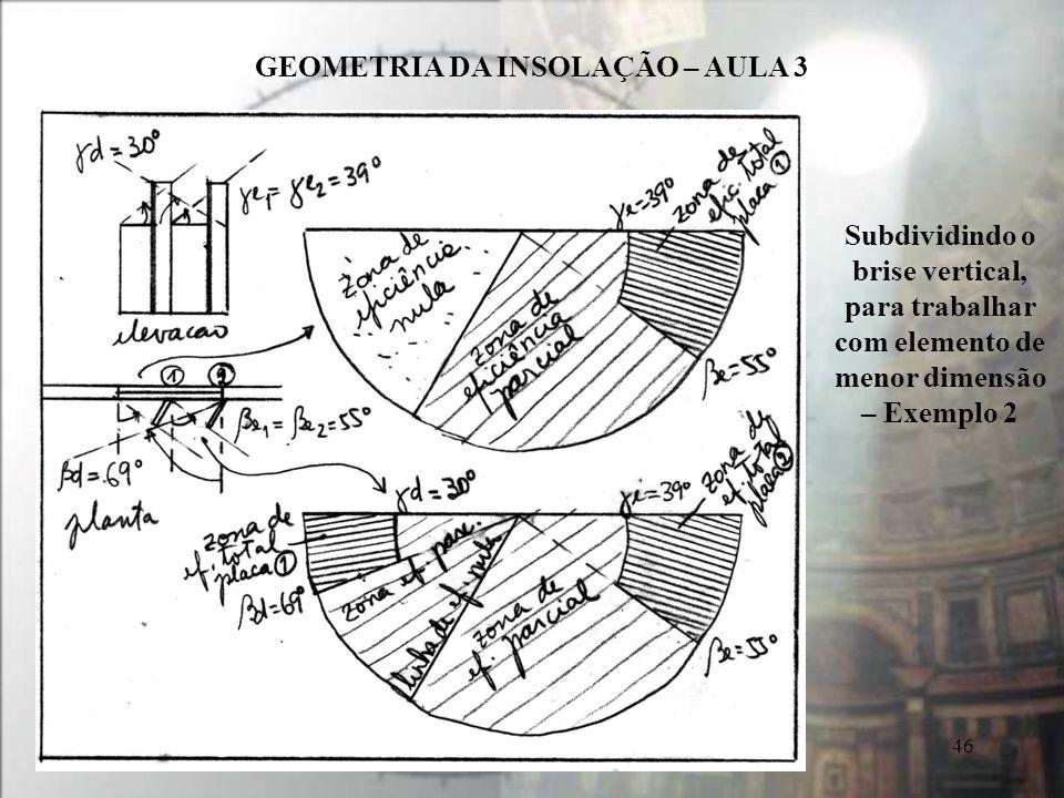 GEOMETRIA DA INSOLAÇÃO – AULA 3 46 Subdividindo o brise vertical, para trabalhar com elemento de menor dimensão – Exemplo 2