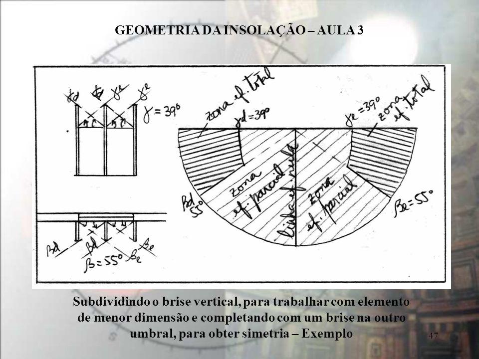 GEOMETRIA DA INSOLAÇÃO – AULA 3 47 Subdividindo o brise vertical, para trabalhar com elemento de menor dimensão e completando com um brise na outro um
