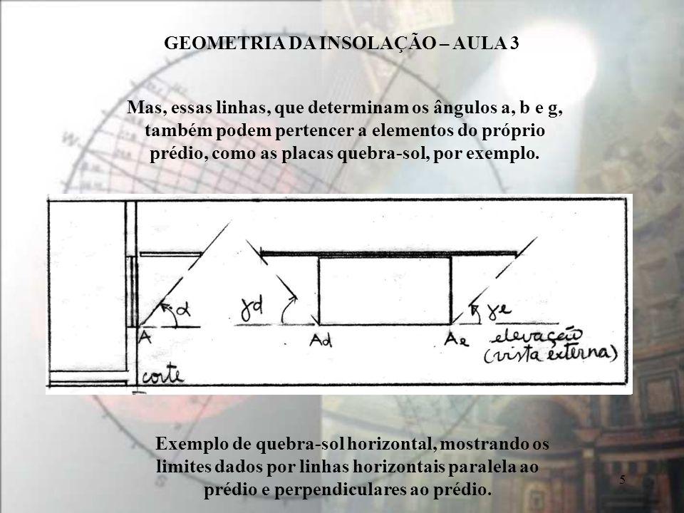 GEOMETRIA DA INSOLAÇÃO – AULA 3 5 Exemplo de quebra-sol horizontal, mostrando os limites dados por linhas horizontais paralela ao prédio e perpendiculares ao prédio.