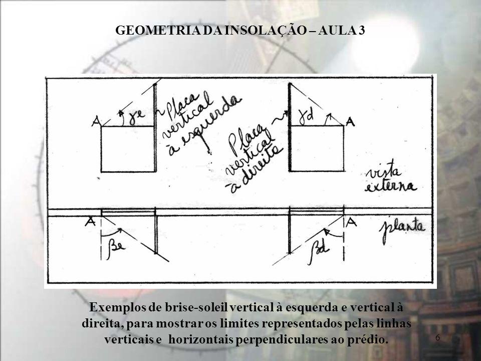 GEOMETRIA DA INSOLAÇÃO – AULA 3 6 Exemplos de brise-soleil vertical à esquerda e vertical à direita, para mostrar os limites representados pelas linhas verticais e horizontais perpendiculares ao prédio.