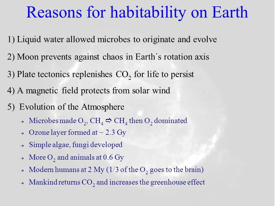 Reasons for habitability on Earth 1)Liquid water allowed microbes to originate and evolve 2)Moon prevents against chaos in Earth´s rotation axis 3)Plate tectonics replenishes CO 2 for life to persist 4)A magnetic field protects from solar wind 5) Evolution of the Atmosphere Microbes made O 2, CH 4 CH 4 then O 2 dominated Ozone layer formed at ~ 2.3 Gy Simple algae, fungi developed More O 2 and animals at 0.6 Gy Modern humans at 2 My (1/3 of the O 2 goes to the brain) Mankind returns CO 2 and increases the greenhouse effect