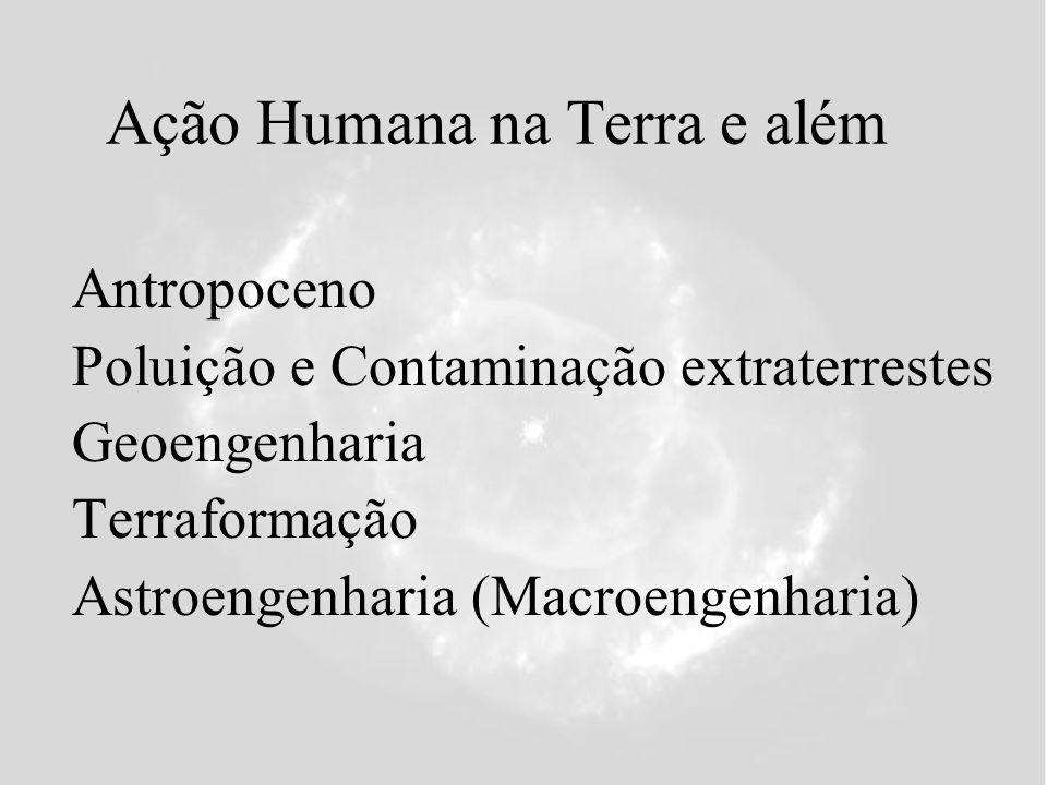 Ação Humana na Terra e além Antropoceno Poluição e Contaminação extraterrestes Geoengenharia Terraformação Astroengenharia (Macroengenharia)