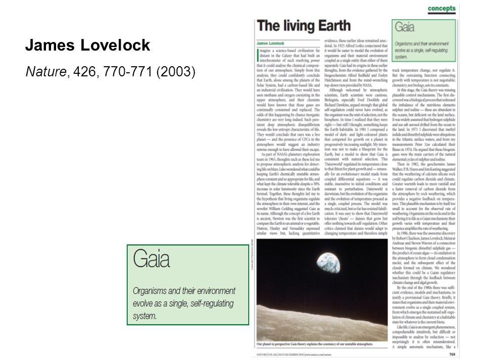 James Lovelock Nature, 426, (2003)
