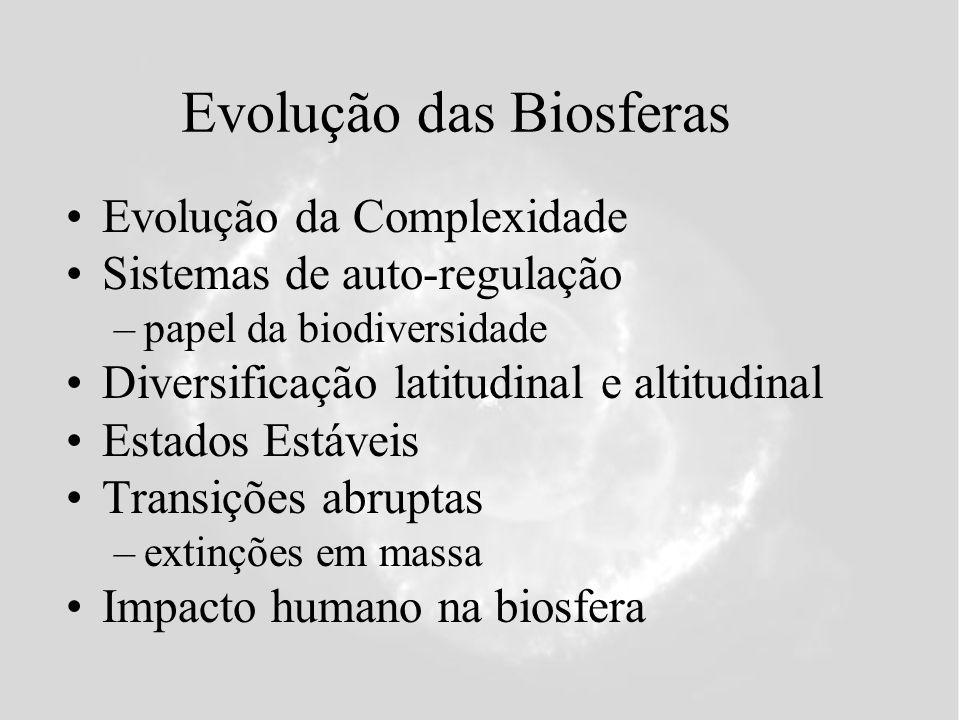 Evolução das Biosferas Evolução da Complexidade Sistemas de auto-regulação –papel da biodiversidade Diversificação latitudinal e altitudinal Estados Estáveis Transições abruptas –extinções em massa Impacto humano na biosfera