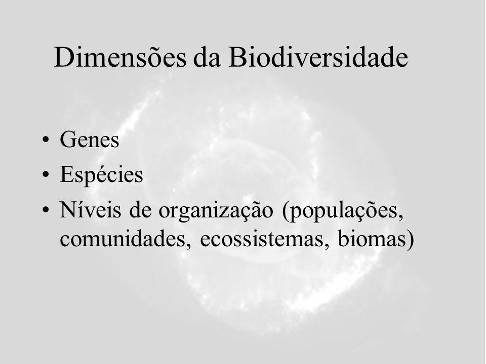 Dimensões da Biodiversidade Genes Espécies Níveis de organização (populações, comunidades, ecossistemas, biomas)