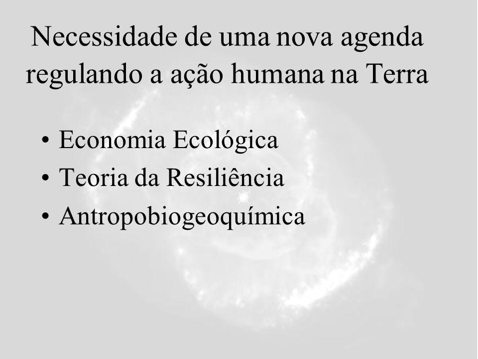 Necessidade de uma nova agenda regulando a ação humana na Terra Economia Ecológica Teoria da Resiliência Antropobiogeoquímica