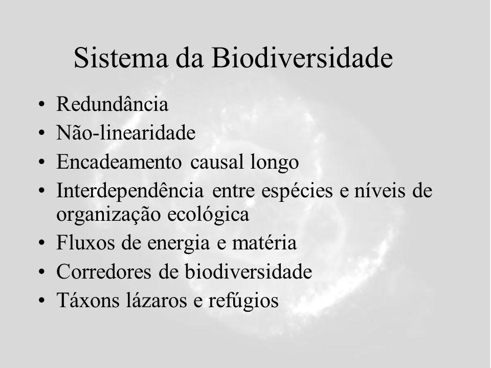 Sistema da Biodiversidade Redundância Não-linearidade Encadeamento causal longo Interdependência entre espécies e níveis de organização ecológica Fluxos de energia e matéria Corredores de biodiversidade Táxons lázaros e refúgios