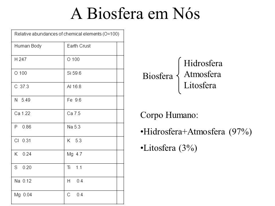 Relative abundances of chemical elements (O=100) Human BodyEarth Crust H 247O 100 Si 59.6 C 37.3Al 16.8 N 5.49Fe 9.6 Ca 1.22Ca 7.5 P 0.86Na 5.3 Cl 0.31K 5.3 K 0.24Mg 4.7 S 0.20Ti 1.1 Na 0.12H 0.4 Mg 0.04C 0.4 A Biosfera em Nós Hidrosfera Atmosfera Litosfera Biosfera Corpo Humano: Hidrosfera+Atmosfera (97%) Litosfera (3%)