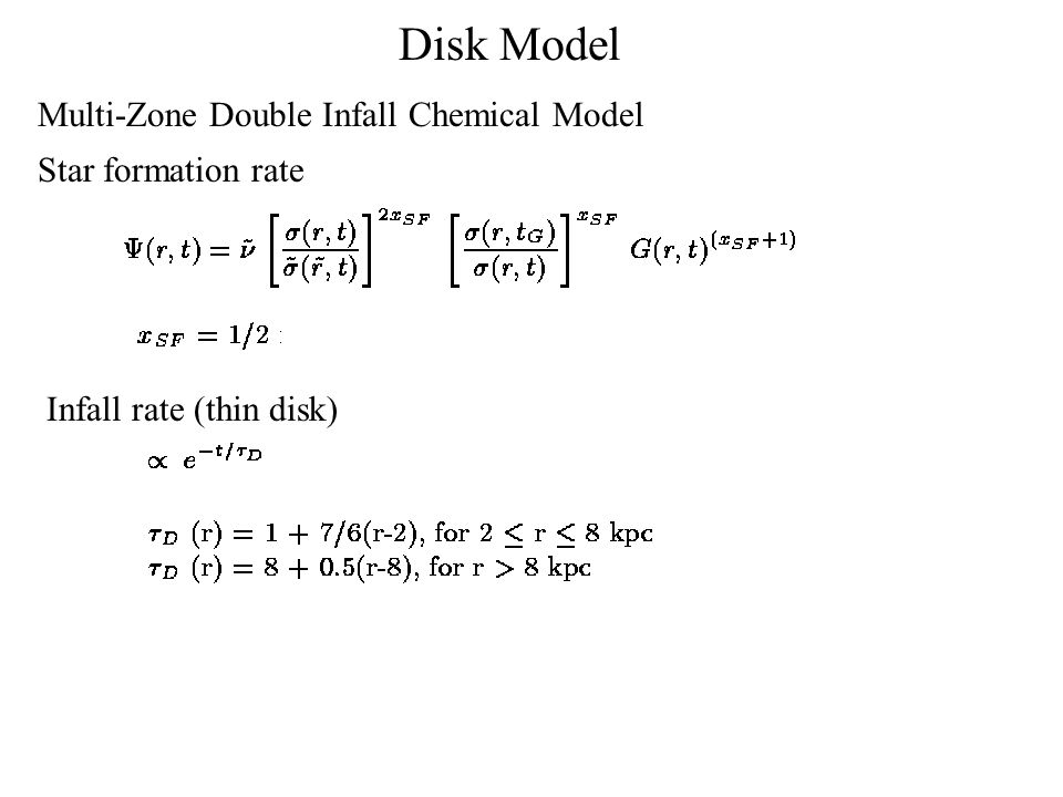 Star formation rate Infall rate (thin disk) Disk Model Multi-Zone Double Infall Chemical Model