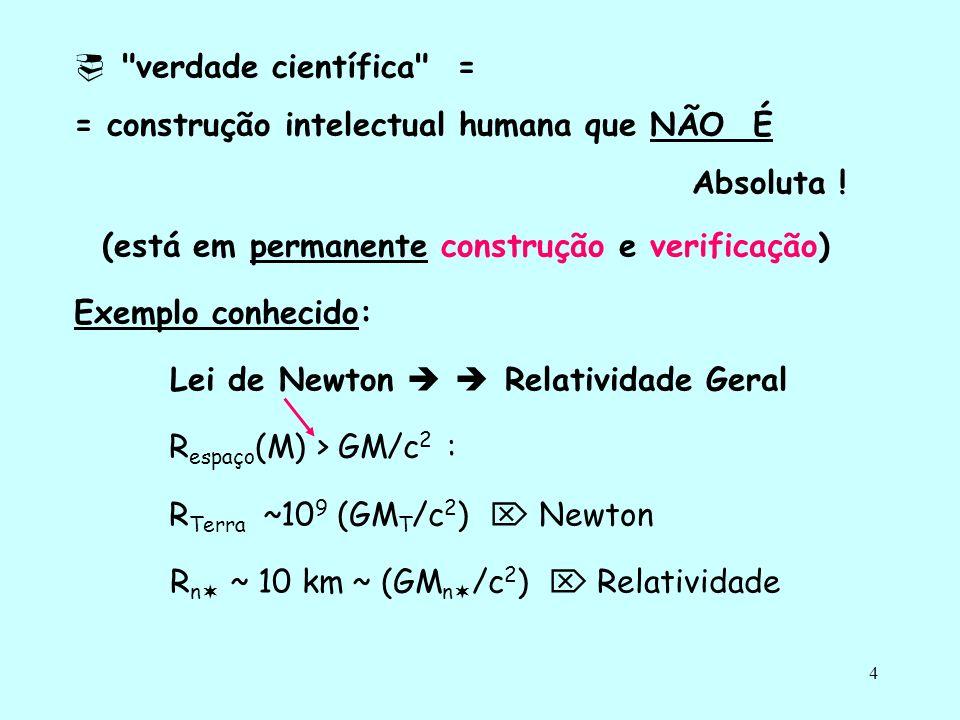 4 verdade científica = = construção intelectual humana que NÃO É Absoluta .