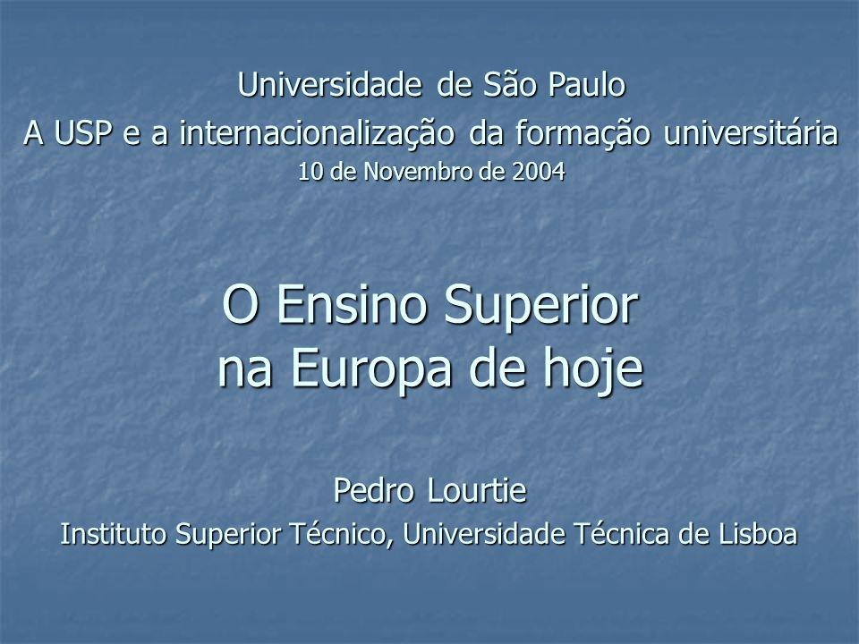 O Ensino Superior na Europa de hoje Universidade de São Paulo A USP e a internacionalização da formação universitária 10 de Novembro de 2004 Pedro Lourtie Instituto Superior Técnico, Universidade Técnica de Lisboa