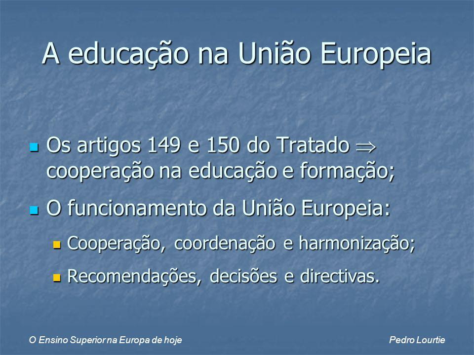O Ensino Superior na Europa de hojePedro Lourtie Os artigos 149 e 150 do Tratado cooperação na educação e formação; Os artigos 149 e 150 do Tratado cooperação na educação e formação; O funcionamento da União Europeia: O funcionamento da União Europeia: Cooperação, coordenação e harmonização; Cooperação, coordenação e harmonização; Recomendações, decisões e directivas.