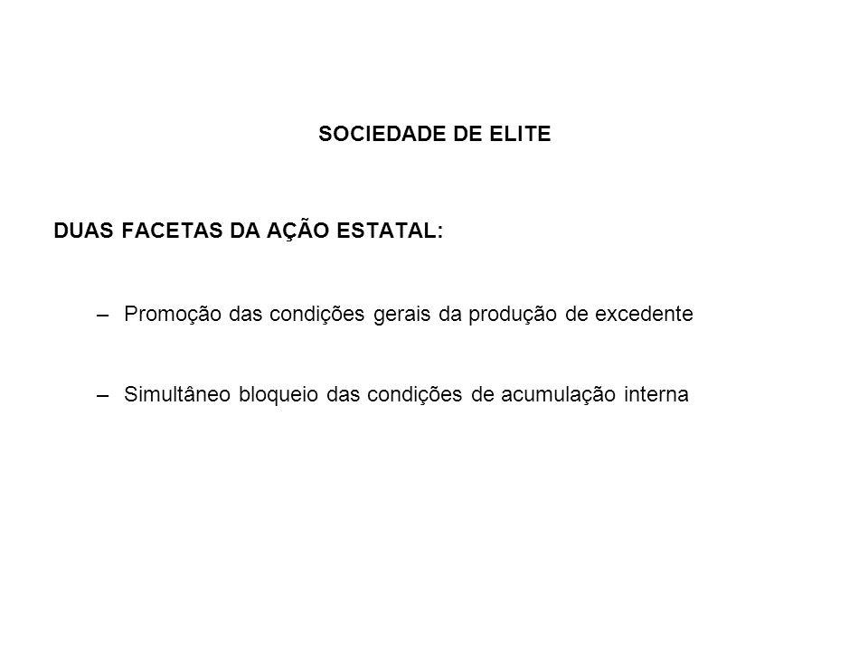 SOCIEDADE DE ELITE DUAS FACETAS DA AÇÃO ESTATAL: –Promoção das condições gerais da produção de excedente –Simultâneo bloqueio das condições de acumula