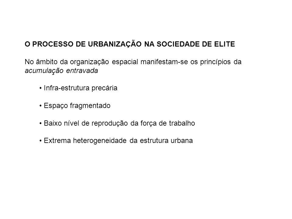 O PROCESSO DE URBANIZAÇÃO NA SOCIEDADE DE ELITE No âmbito da organização espacial manifestam-se os princípios da acumulação entravada Infra-estrutura