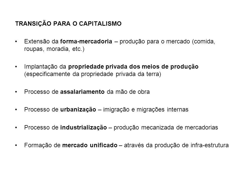 TRANSIÇÃO PARA O CAPITALISMO Extensão da forma-mercadoria – produção para o mercado (comida, roupas, moradia, etc.) Implantação da propriedade privada
